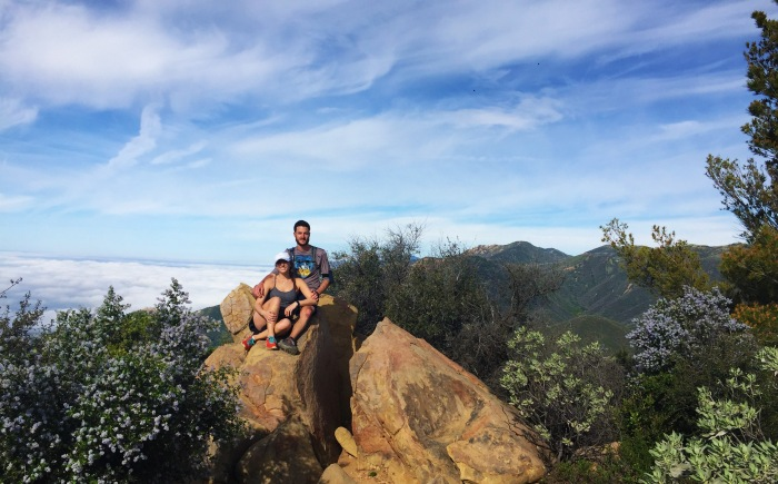 Britt and David on top of Montecito Peak above the clouds